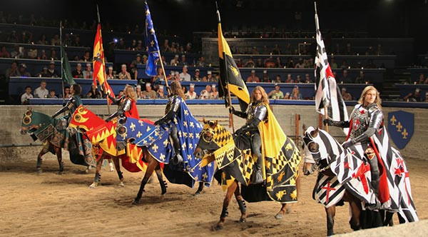 Men on Horses for a show at Medieval Times